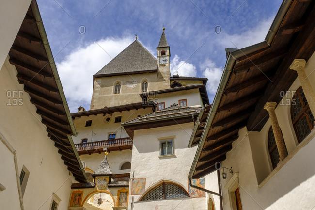 Italy- Trentino- Sanzeno- Low angle view of Sanctuary of San Romedio