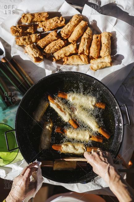 Spanish Christmas pastry Pestinos are being prepared