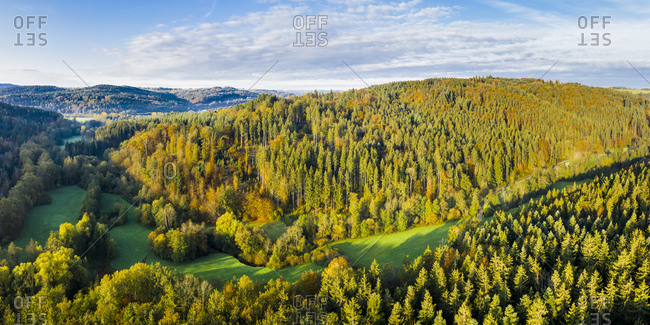 Germany- Baden-Wurttemberg- Aerial view of Haselbach Valley in Swabian-Franconian Forest