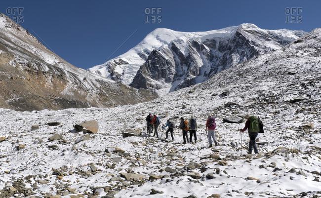 October 31, 2019: Trekking group at Chonbarden Glacier- Dhaulagiri Circuit Trek- Himalaya- Nepal