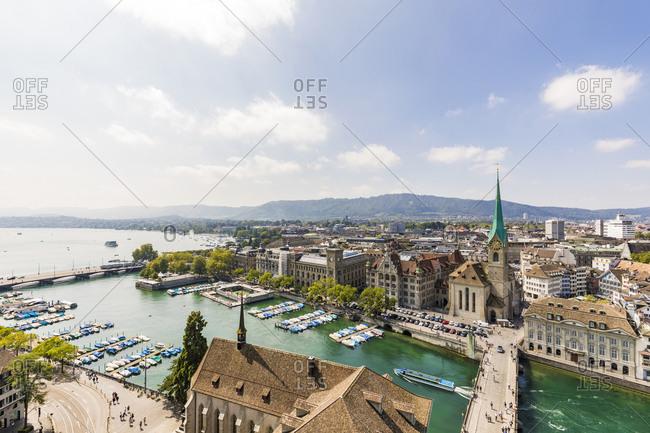 August 24, 2019: Switzerland- Canton of Zurich- Zurich- Sky over harbor in old town of Zurich