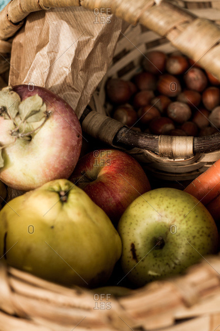 From above wicker basket with ripe fresh colorful vegetables and fruits in composition with herbs and hazelnut standing on ground among brown dry foliage beside warm blue plaid in autumn garden