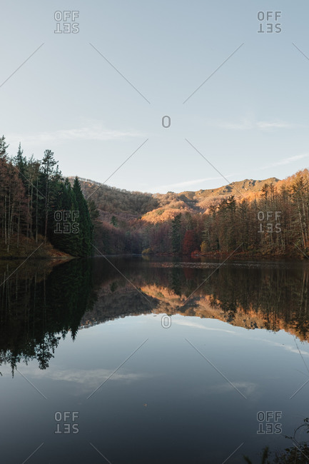 Lake and forest landscape with blue sky