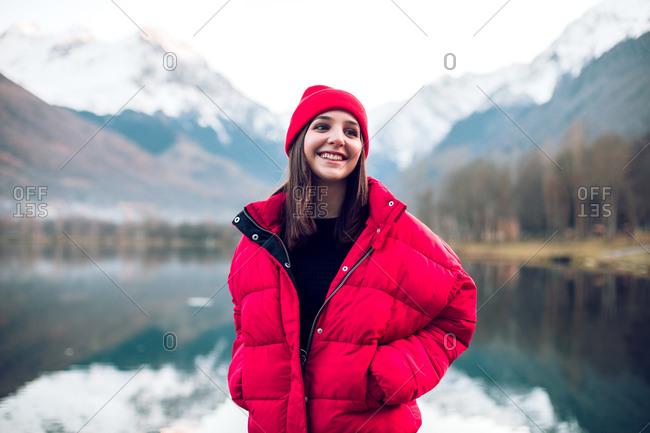 Brunette girl wearing stylish outerwear in a mountain setting