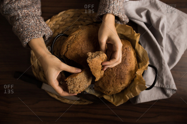 Overhead view of fresh baked bread loaf