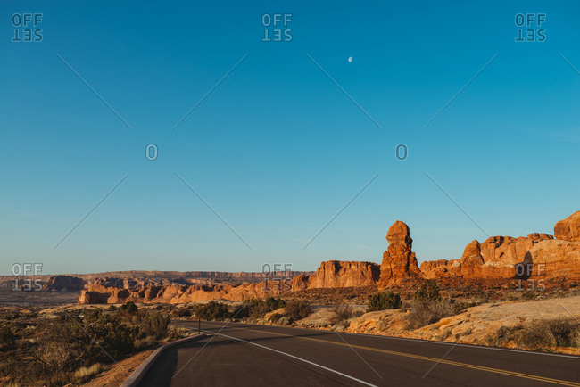 Highway leading through Arches National Park, Utah