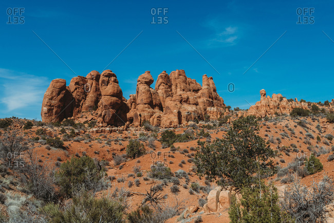 Rock formations in the desert at Arches National Park, Utah