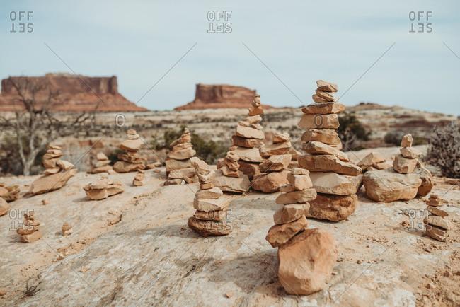 Cairn rock stacks by Merrimac Butte, Canyonlands National Park, Utah