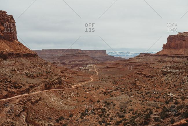 View overlooking vast valley in Canyonlands National Park, Utah