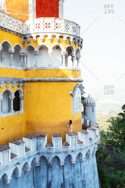 Colorful castle against cloudless sky