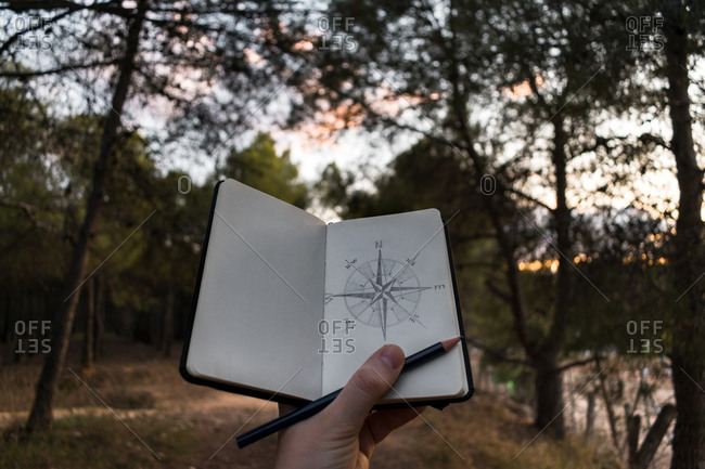 Crop traveler drawing compass on nature