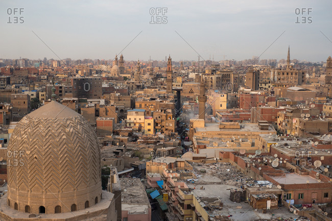 From above amazing landscape of ancient great breathtaking city with old minarets and holy buildings, Bab Zuwayala, Old Cairo, Egypt