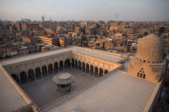 From above breathtaking square ornamental ancient roof of Sultan al-Mu ayyad Mosque, Egypt