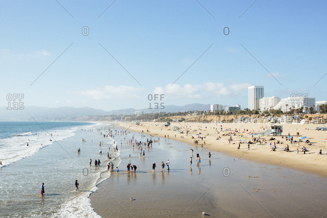 Crowded beach in Santa Monica, California