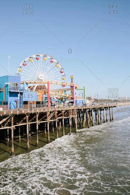 Santa Monica, California - October 8, 2018: Rides on the Santa Monica Pier
