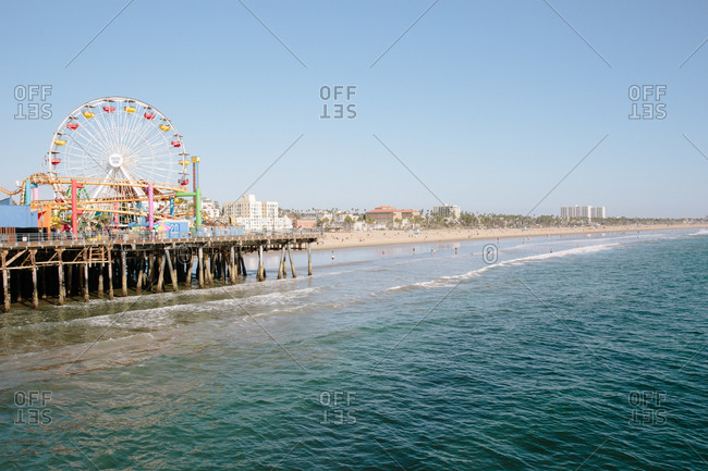 Santa Monica, California - October 8, 2018: Santa Monica State Beach the Santa Monica Pier