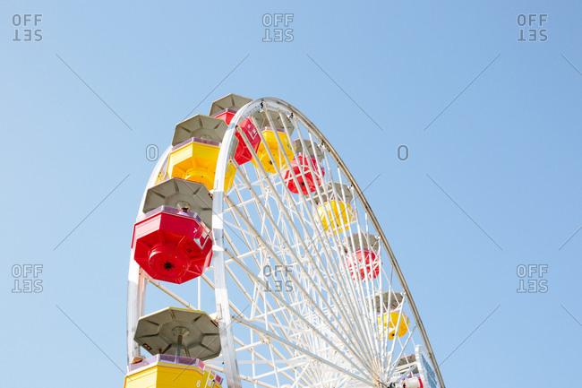 Santa Monica, California - October 8, 2018: Low angle view of the Ferris wheel at the Santa Monica Pier