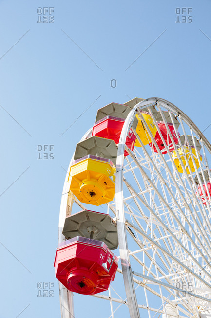 Low angle view of the Ferris wheel at the Santa Monica Pier in California