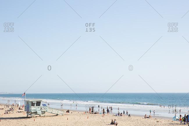Santa Monica, California - October 8, 2018: Beachgoers at the Santa Monica State Beach