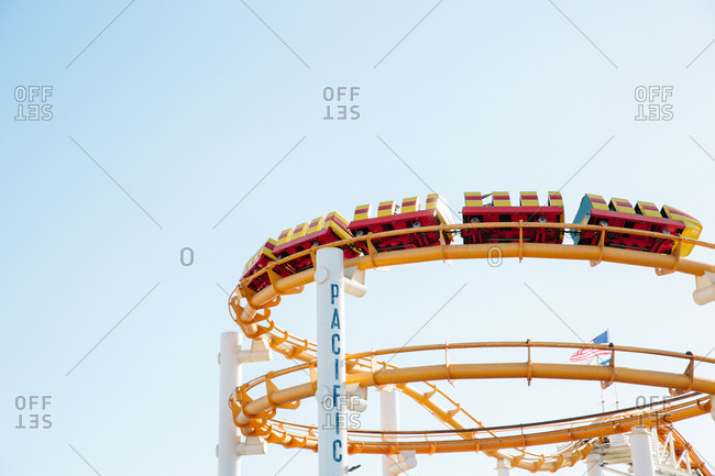 Santa Monica, California - October 8, 2018: Low angle view of a rollercoaster at the Santa Monica Pier