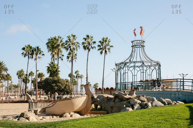 Santa Monica, California - October 8, 2018: Sand dragon at the Santa Monica Pier