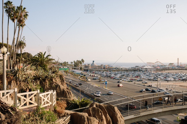 Santa Monica, California - December 31, 1999: View over highway beside the Santa Monica Pier