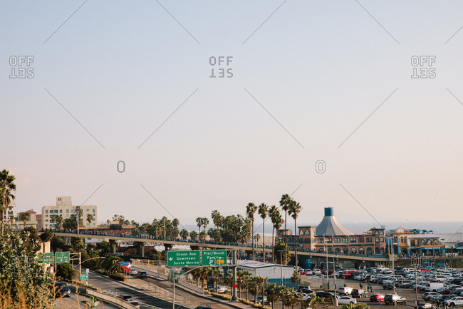 Santa Monica, California - December 31, 1999: View over highway by the Santa Monica Pier