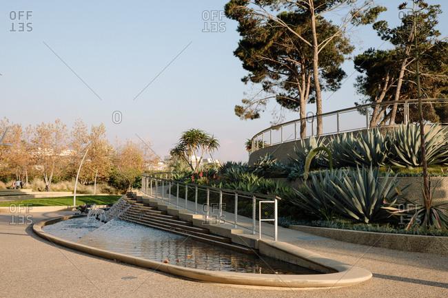 Fountains and ramp at Tongva Park in Santa Monica, California