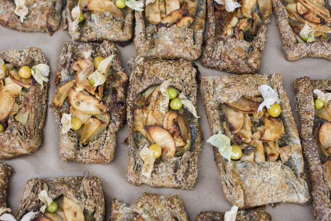 Buckwheat pear galettes with ground cherries