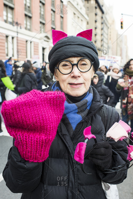 Manhattan, New York, USA - January 18, 2020: Woman pussycat ears at the Women's March in New York City