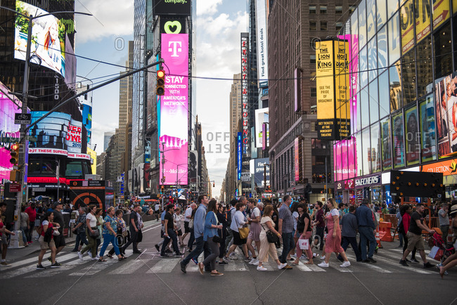 New York City, New York - August 24, 2019: Busy crosswalk in Times Square, NYC