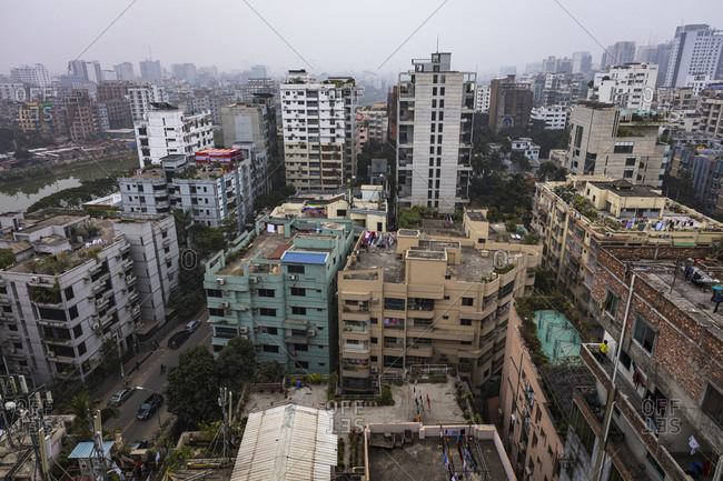 Dhaka, Bangladesh - December 22, 2019: A skyline view of one of the most dense cities in the world, Dhaka, Bangladesh