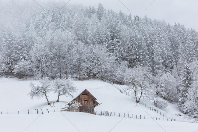 Snowy barn near Bad Kleinkirchheim, Carinthia, Austria, Europe