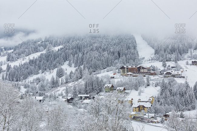 March 18, 2019: Bad Kleinkirchheim village in the snow, Carinthia, Austria, Europe