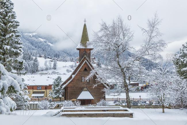 March 18, 2019: Evangelical church in Bad Kleinkirchheim, Carinthia, Austria, Europe
