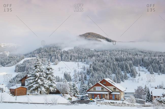 March 18, 2019: The snowy village of Bad Kleinkirchheim at sunset, Carinthia, Austria, Europe