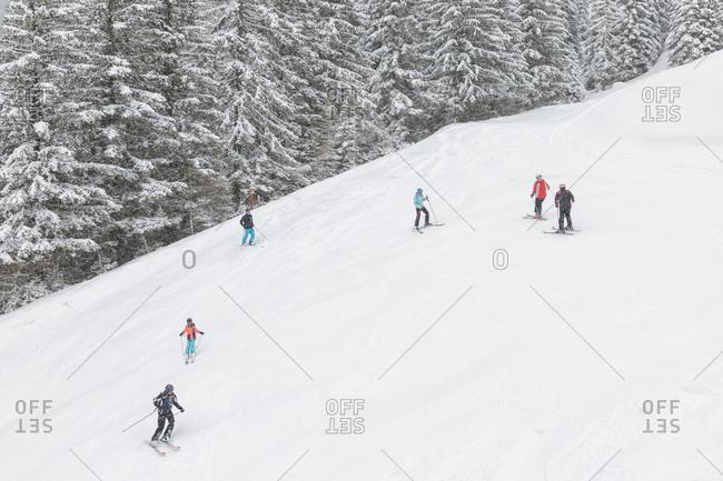 March 18, 2019: Skiers in the ski area of Maibrunnbahn, Bad Kleinkirchheimm, Carinthia, Austria, Europe