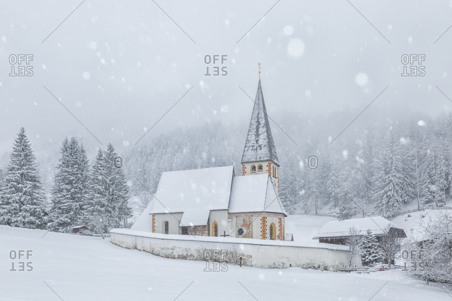 March 18, 2019: The small church of St. Oswald near Bad Kleinkirchheim, Carinthia, Austria, Europe