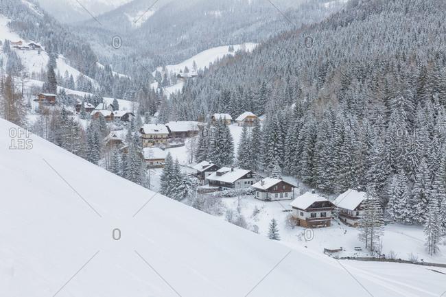 View form above of Bad Kleinkirchheim village in the snow, Carinthia, Austria, Europe