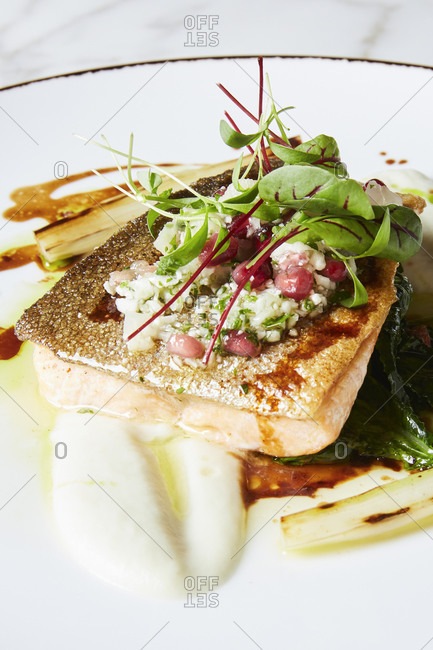 Close-up of arctic char entree with microgreens