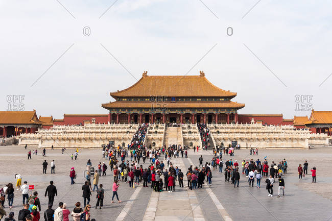 March 27, 2019: Tourist in the Forbidden City. Beijing, China