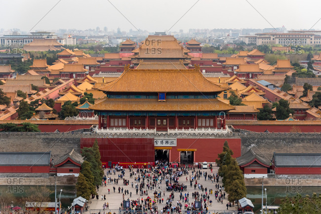 March, 27. 2019: Views of The Forbidden City from above. Beijing, China