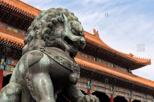 A bronze lion in Beijing