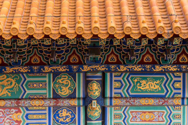 Detail of a pavilion in the Forbidden City. Beijing, China