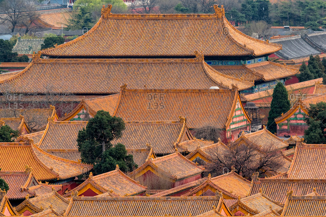 Yellow Roofs Forbidden City taken from Jinshang Park. Beijing, China