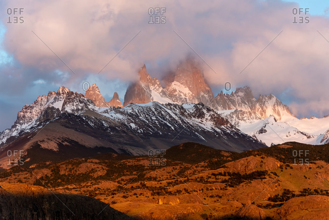 Sunset on Mount Fitz Roy on a cloudy day. El Chalten, Patagonia, Argentina