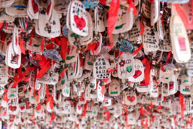 March, 15. 2019: Prayers and wishes on wooden plates hanged. Lijiang, China