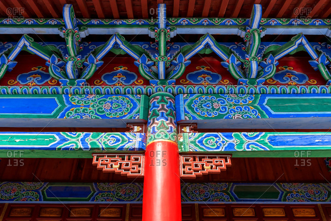 Detail of the roof decorations of a building in Yunnan, China