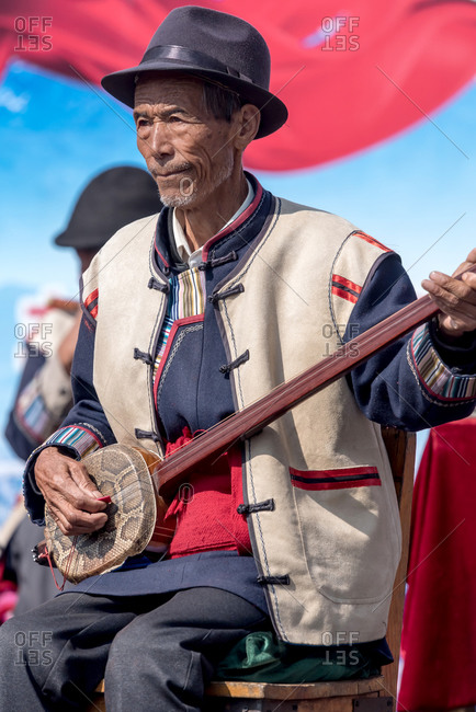 March 17, 2019: Musicians in a traditional Naxi orchestra. Shue, Yunnan province, China