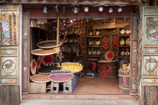 March 15, 2019: Tea cakes at a tea store in the old town of Lijiang, Yunnan Province, China